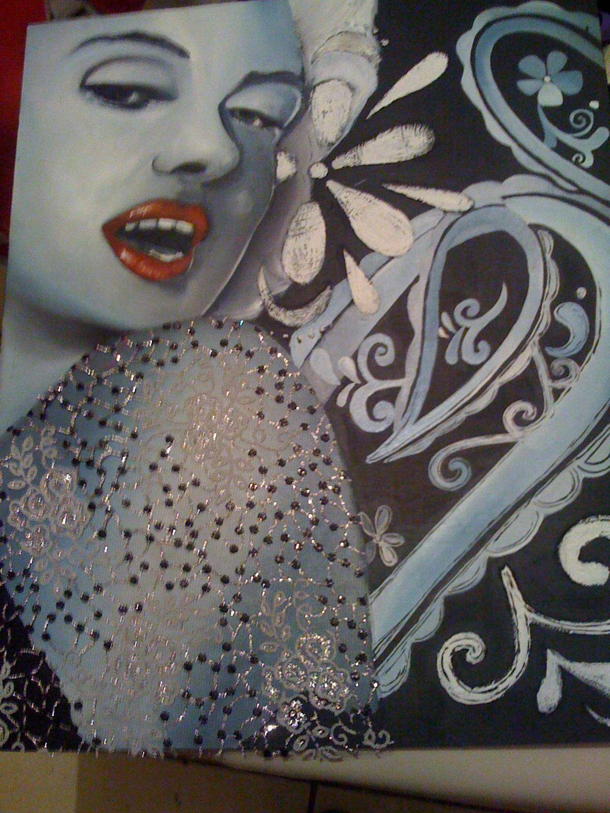 Marylin Monroe con óleos.