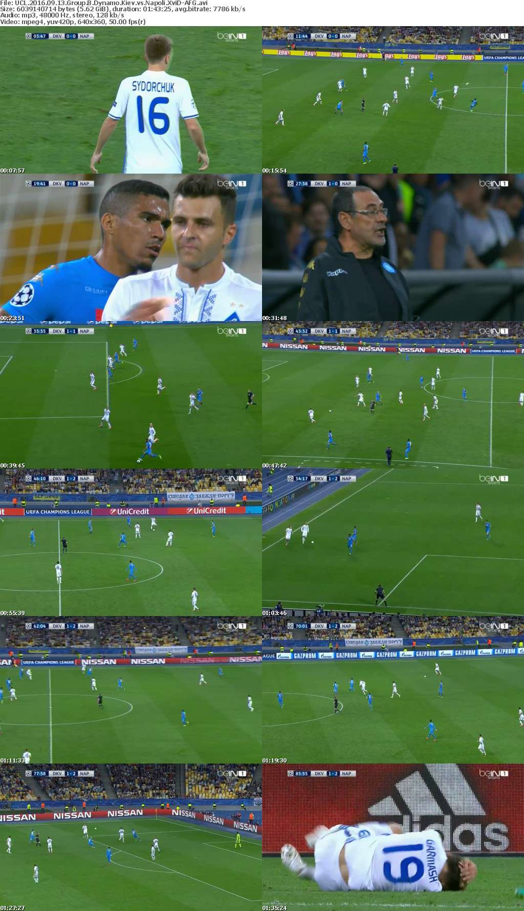 UCL 2016 09 13 Group B Dynamo Kiev vs Napoli XviD-AFG