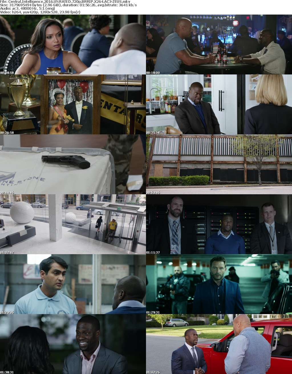 Central Intelligence 2016 UNRATED 720p BRRIP X264 AC3-ZEUS