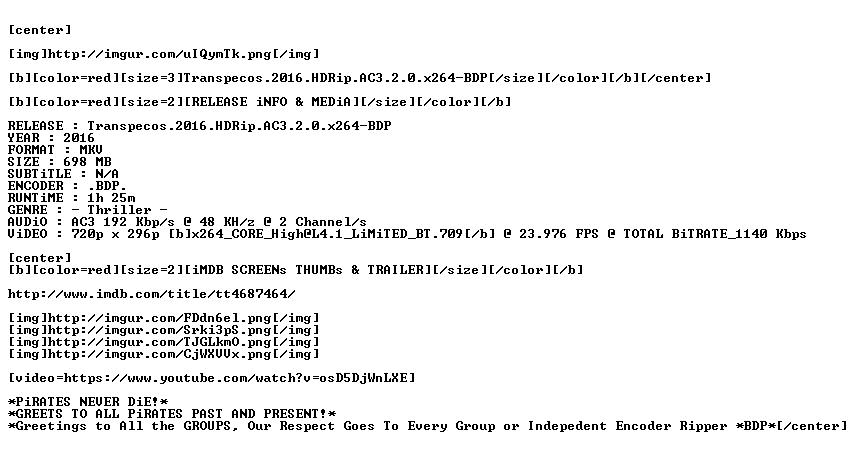 Transpecos 2016 HDRip AC3 2 0 x264-BDP