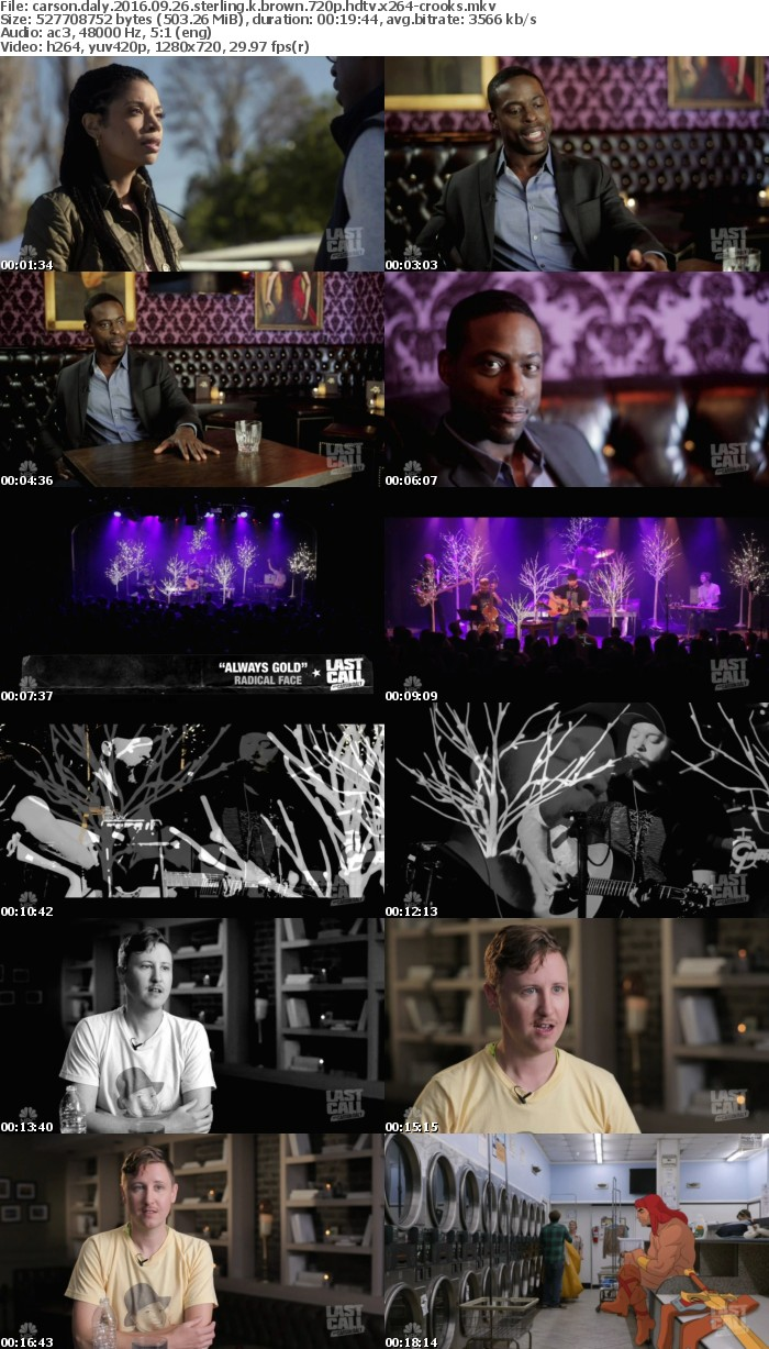 Carson Daly 2016 09 26 Sterling K Brown 720p HDTV x264-CROOKS