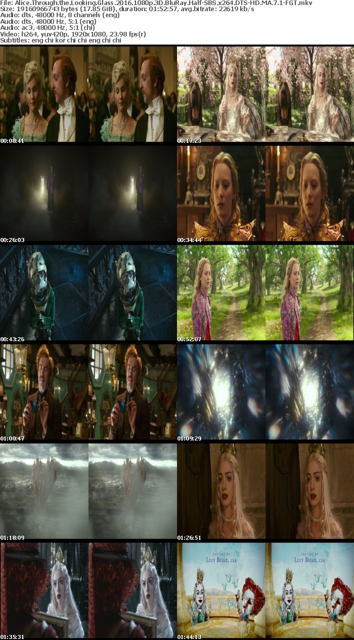 Alice Through the Looking Glass 2016 1080p 3D BluRay Half-SBS x264 DTS-HD MA 7 1-FGT