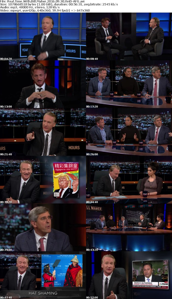 Real Time With Bill Maher 2016 09 30 XviD-AFG