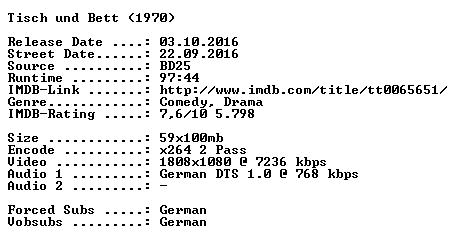 Tisch und Bett 1970 German 1080p BluRay x264-SPiCY