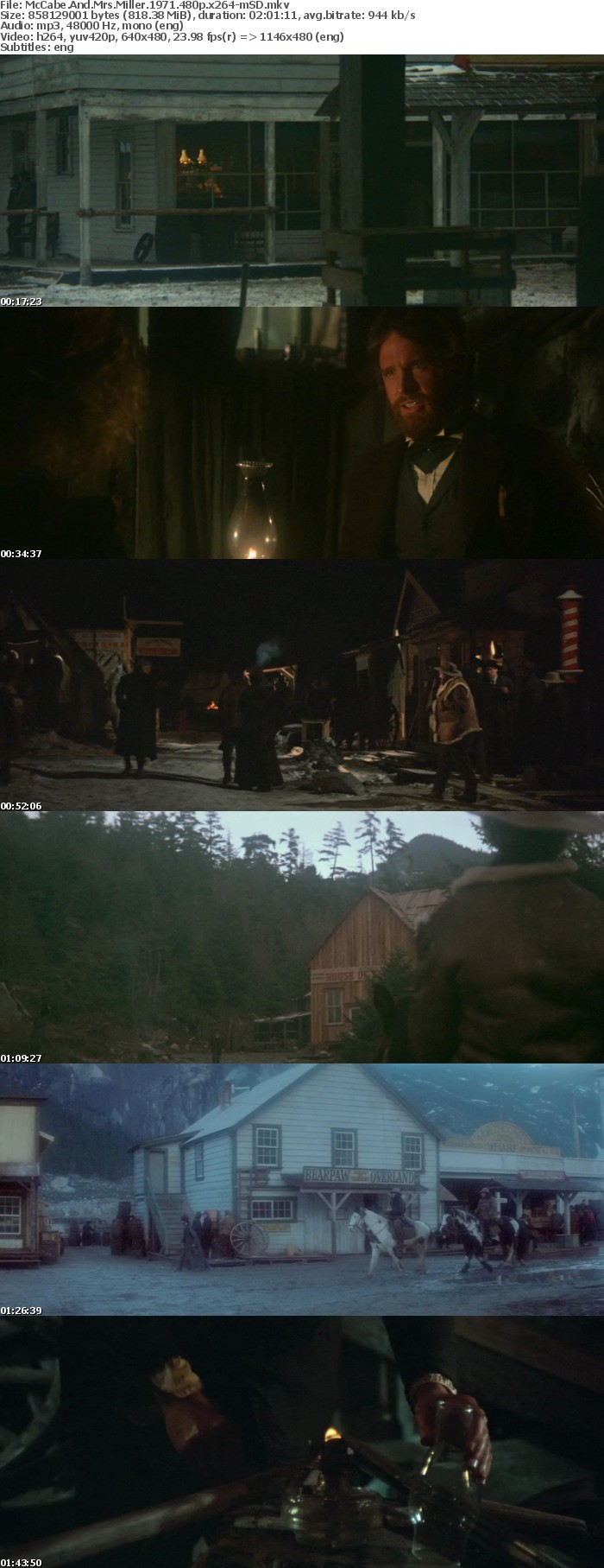 McCabe And Mrs Miller 1971 480p x264-mSD