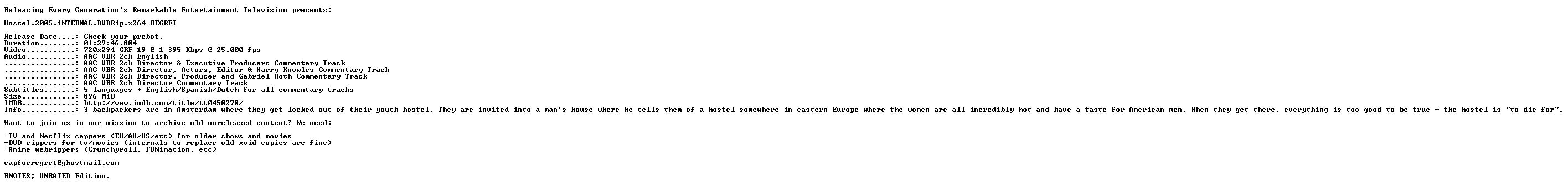 Hostel 2005 iNTERNAL DVDRip x264-REGRET
