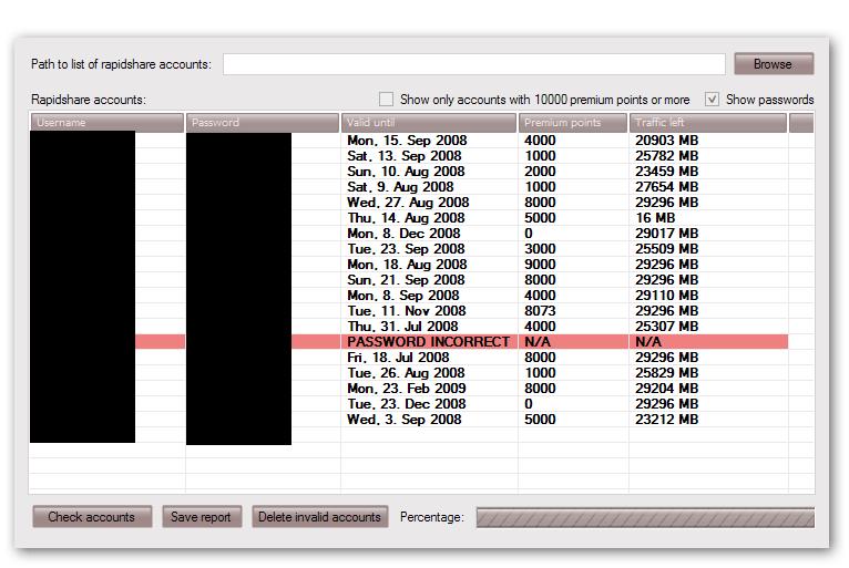Rapidshare Account Checker