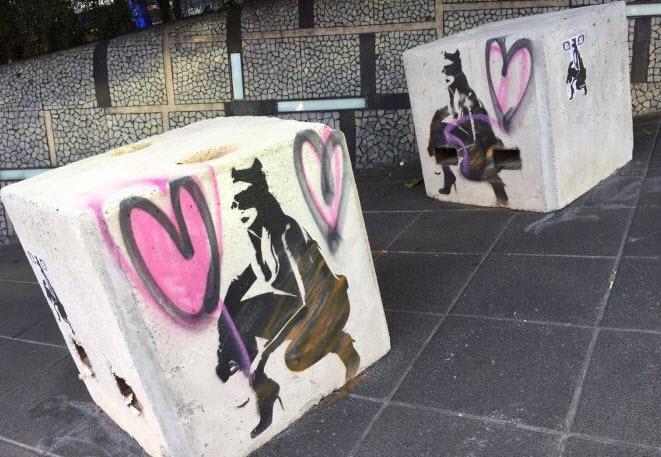 墨尔本涂鸦艺术家们涂鸦反恐水泥墩:获市长点赞(图)