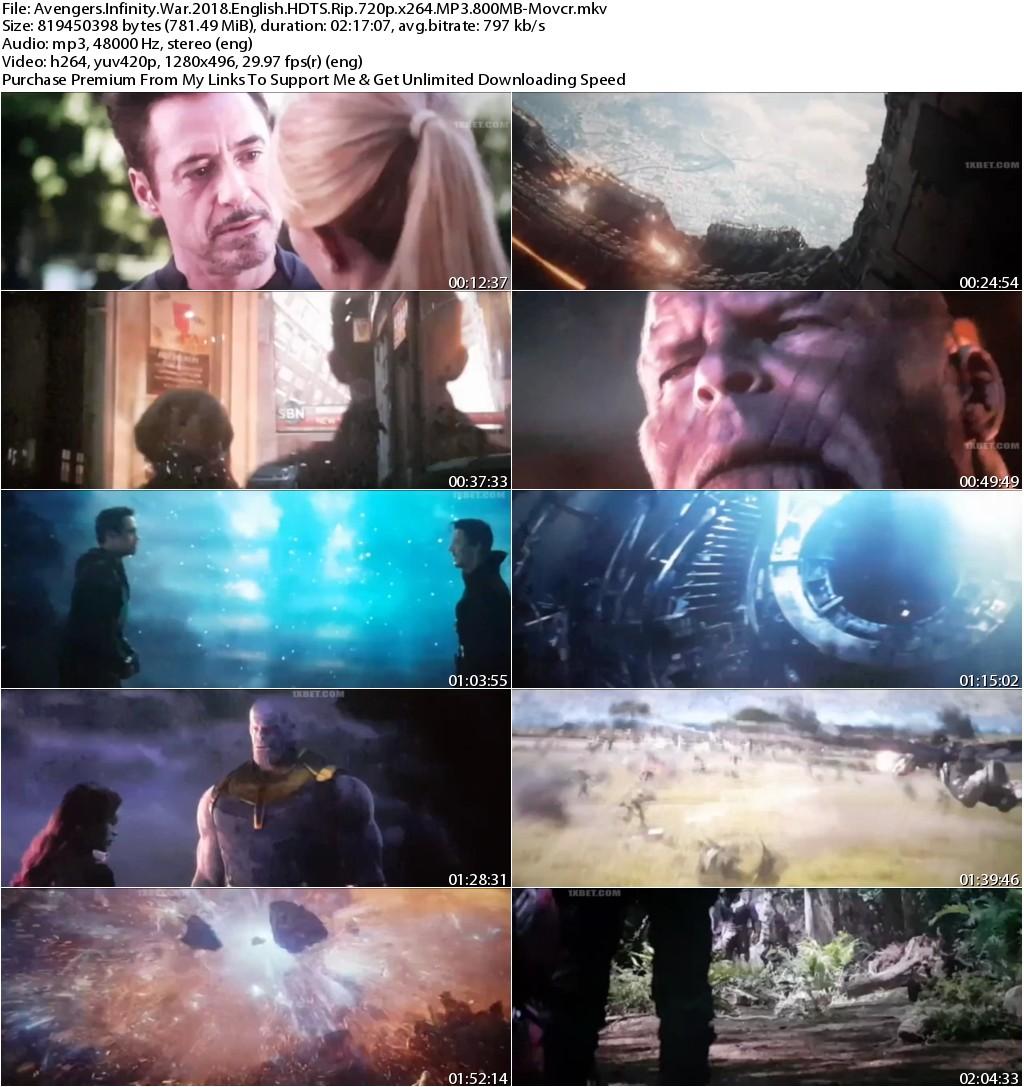 Avengers Infinity War (2018) English HDTS Rip 720p x264 MP3 800MB-Movcr