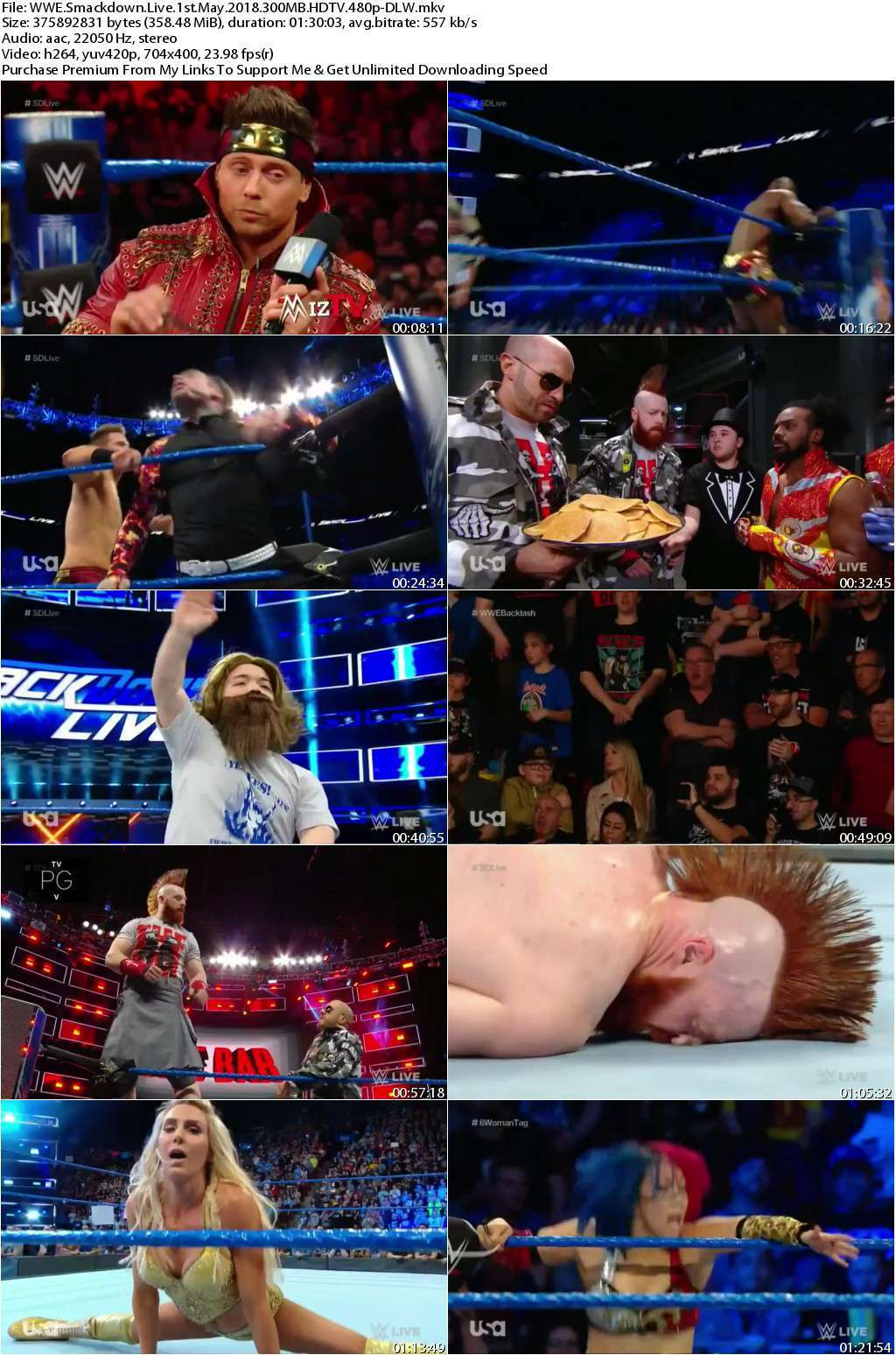 WWE Smackdown Live 1st May 2018 300MB HDTV 480p-DLW