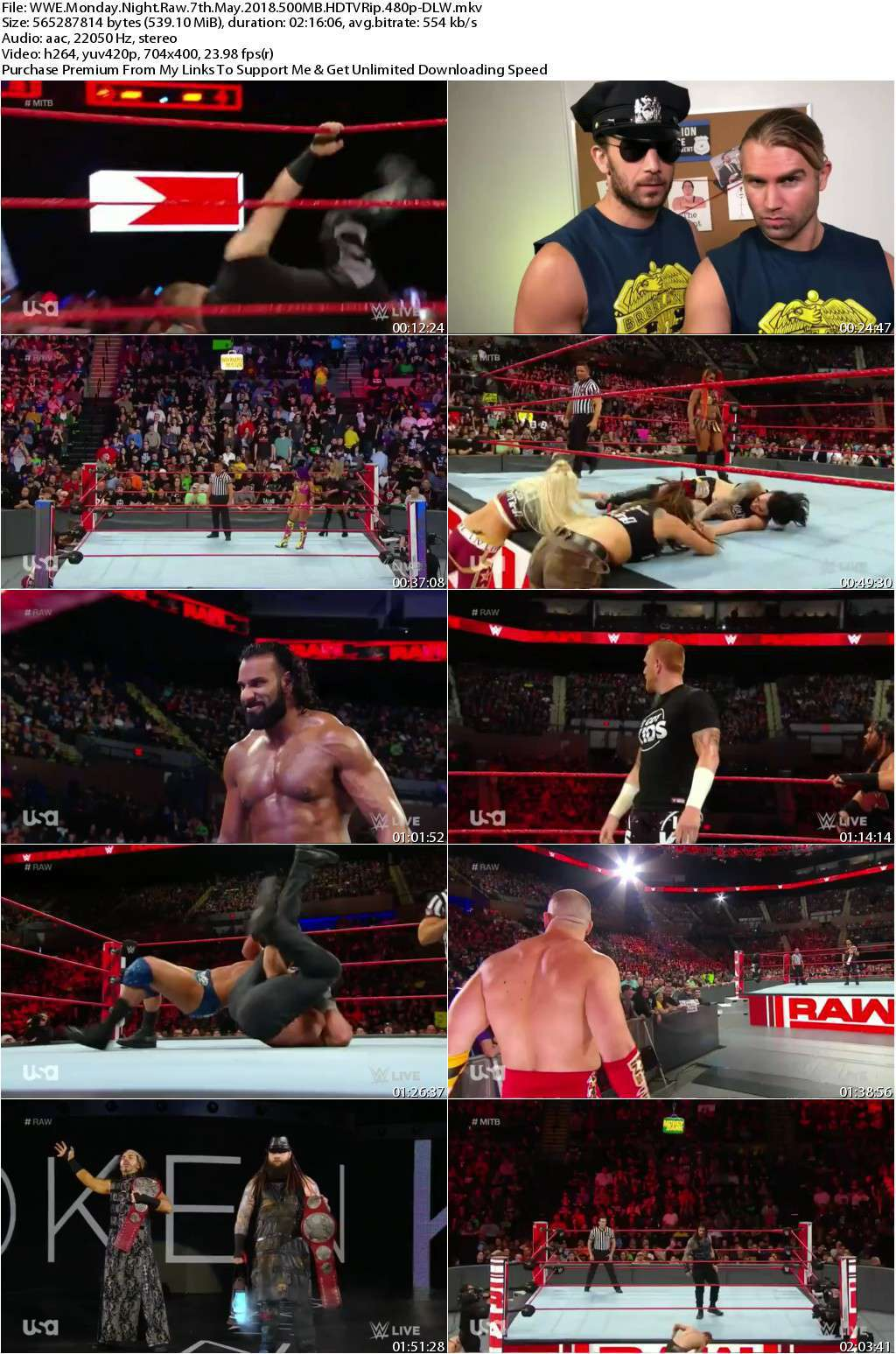 WWE Monday Night Raw 7th May 2018 500MB HDTVRip 480p-DLW
