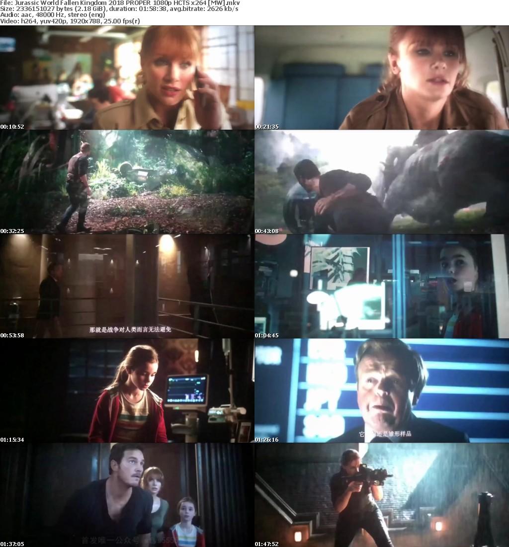 Jurassic World Fallen Kingdom (2018) PROPER 1080p HCTS x264 MW