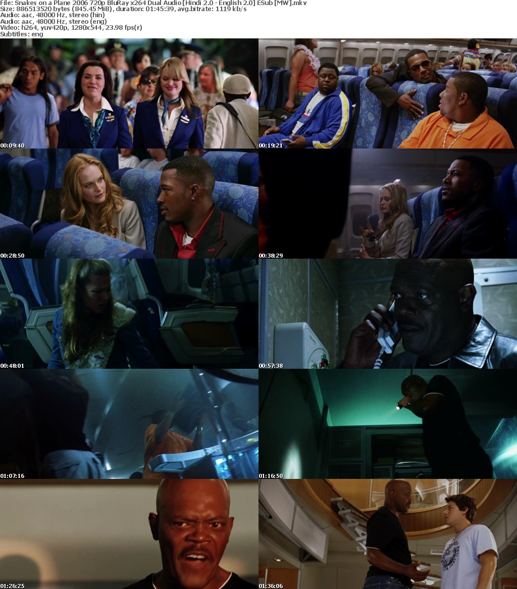 Snakes on a Plane (2006) 720p BluRay x264 Dual Audio [Hindi 2.0-English 2.0] ESub MW