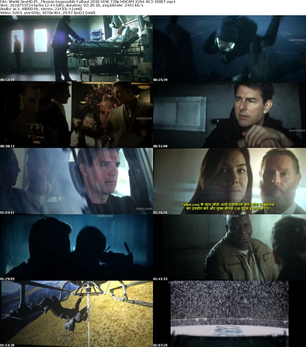 Mission Impossible Fallout 2018 NEW 720p HDCAM X264 AC3-1XBET
