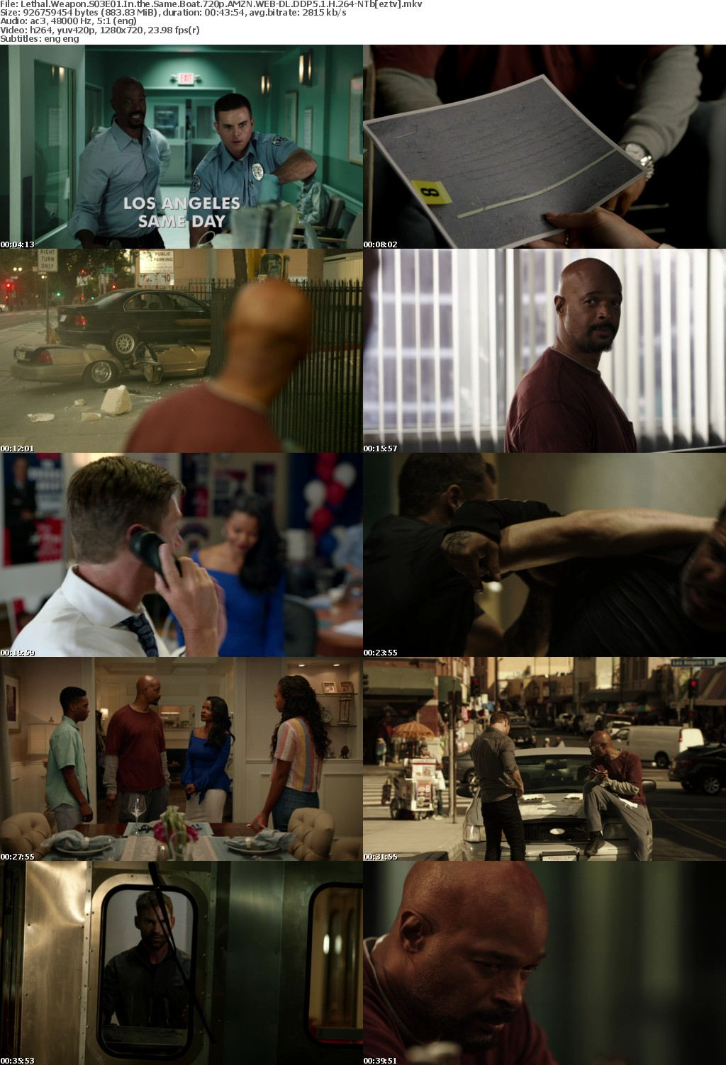 Lethal Weapon S03E01 In the Same Boat 720p AMZN WEB-DL DDP5 1 H 264-NTb