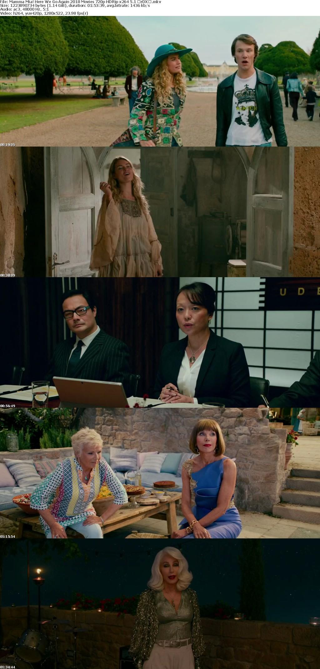 Mamma Mia! Here We Go Again 2018 Movies 720p HDRip x264 5 1 with Sample