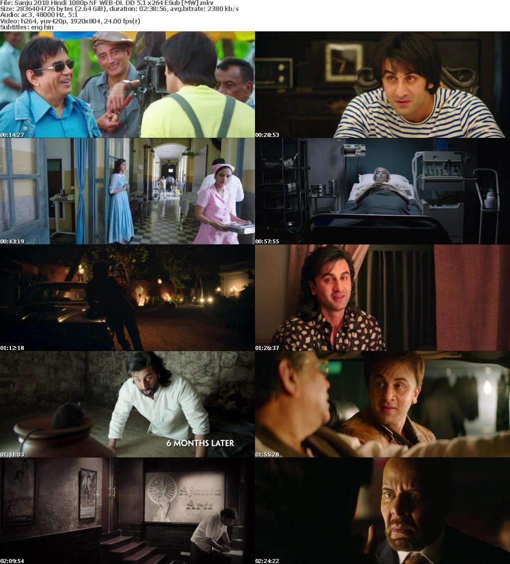 Sanju 2018 Hindi 1080p NF WEB-DL DD 5 1 x264 ESub MW