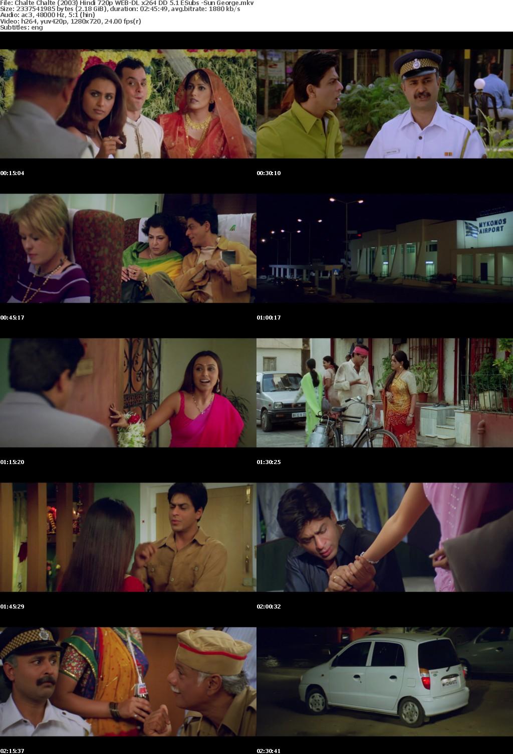 Chalte Chalte (2003) Hindi 720p WEB-DL x264 DD 5.1 ESubs -Sun George