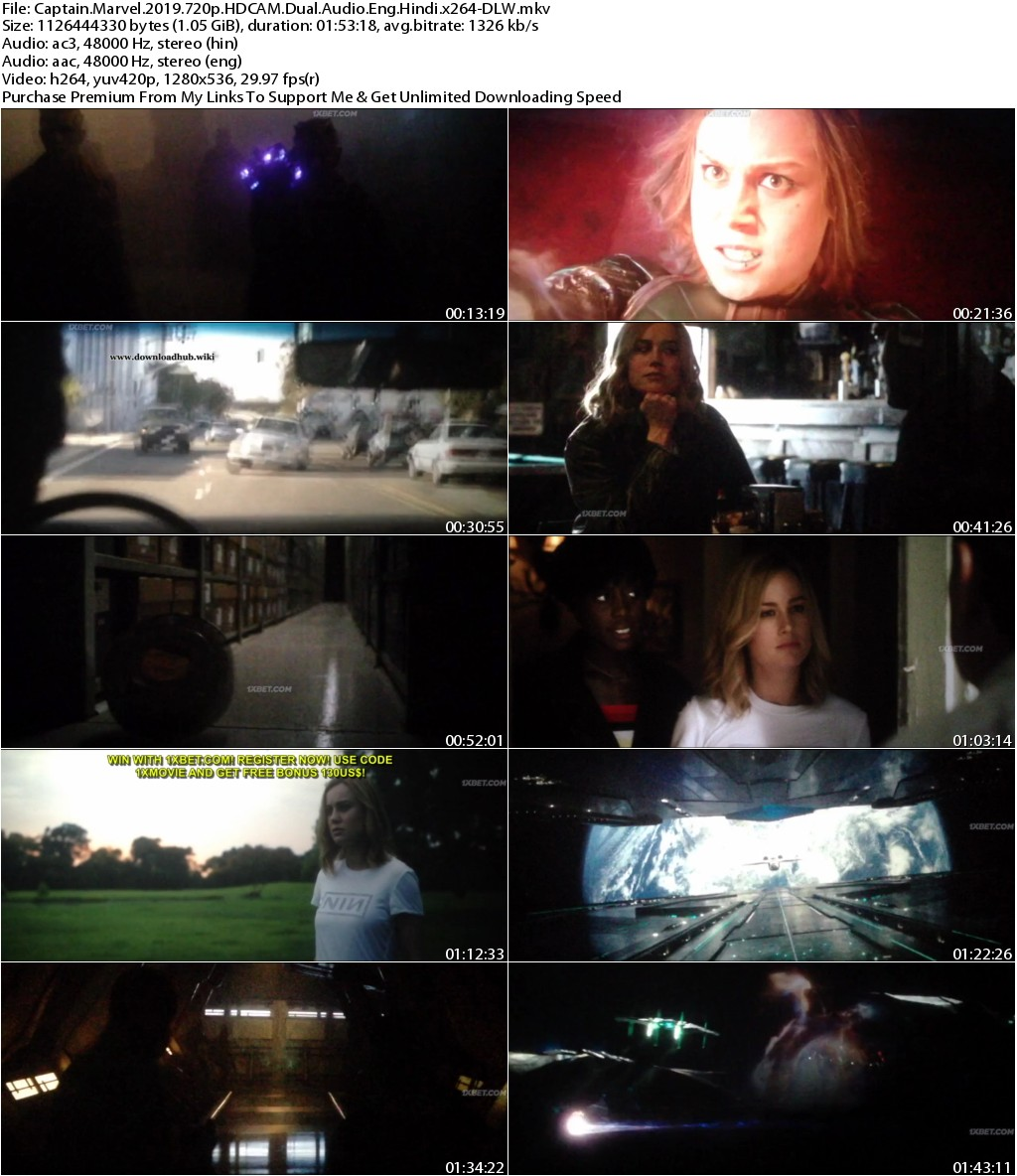 Captain Marvel (2019) 720p HDCAM Dual Audio Eng Hindi x264-DLW