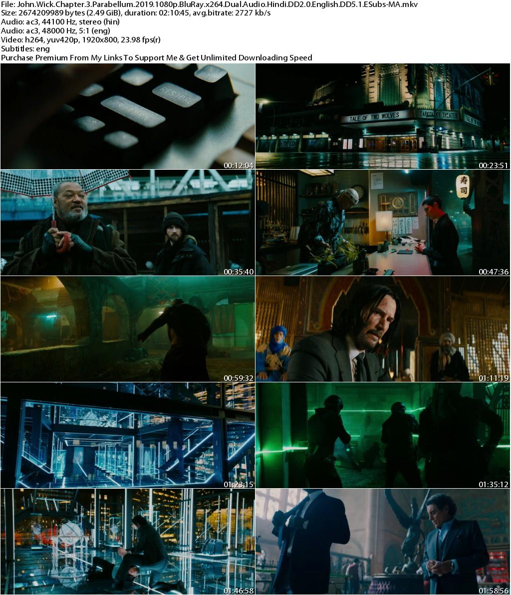 John Wick Chapter 3 Parabellum (2019) 1080p BluRay x264 Dual Audio Hindi DD2.0 English DD5.1 ESubs-MA