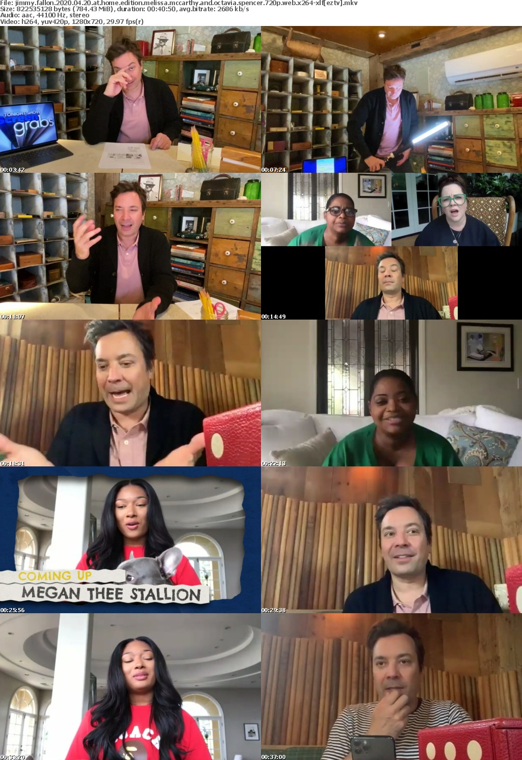 Jimmy Fallon 2020 04 20 At Home Edition Melissa McCarthy and Octavia Spencer 720p WEB x264-XLF