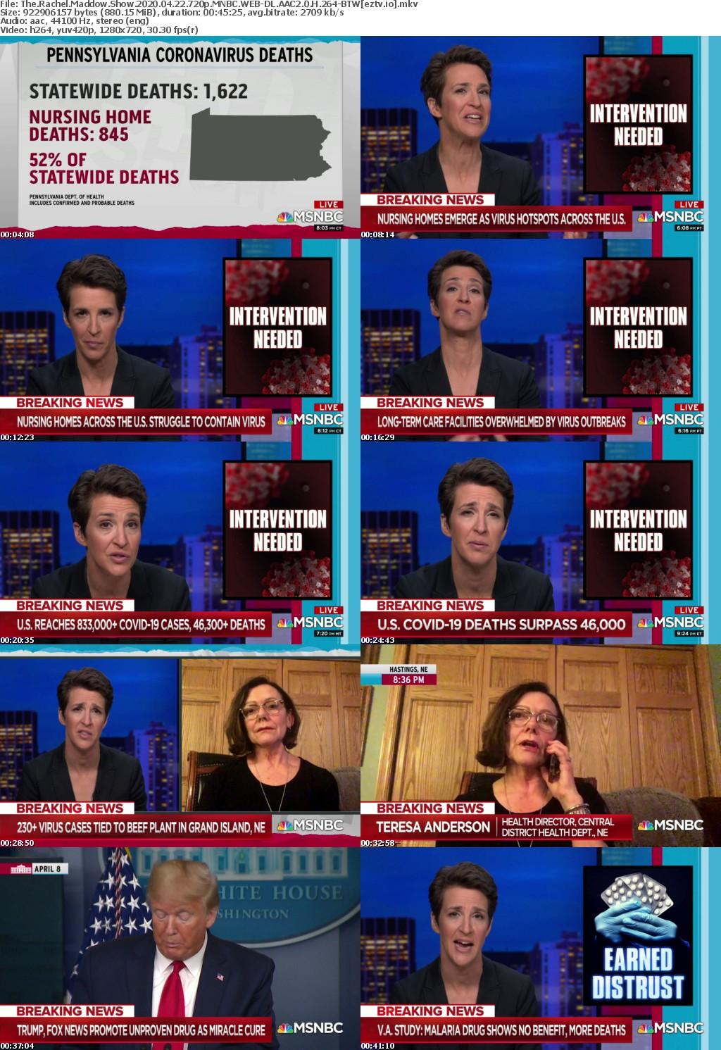 The Rachel Maddow Show 2020 04 22 720p MNBC WEB-DL AAC2 0 H 264-BTW