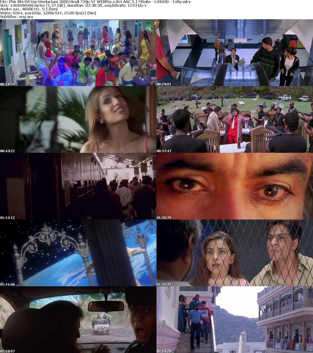 Phir Bhi Dil Hai Hindustani 2000 Hindi 720p NF WEBRip x264 AAC 5 1 MSubs - LOKiHD - Telly