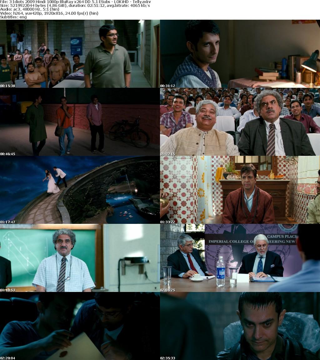 3 Idiots 2009 Hindi 1080p BluRay x264 DD 5 1 ESubs - LOKiHD - Telly